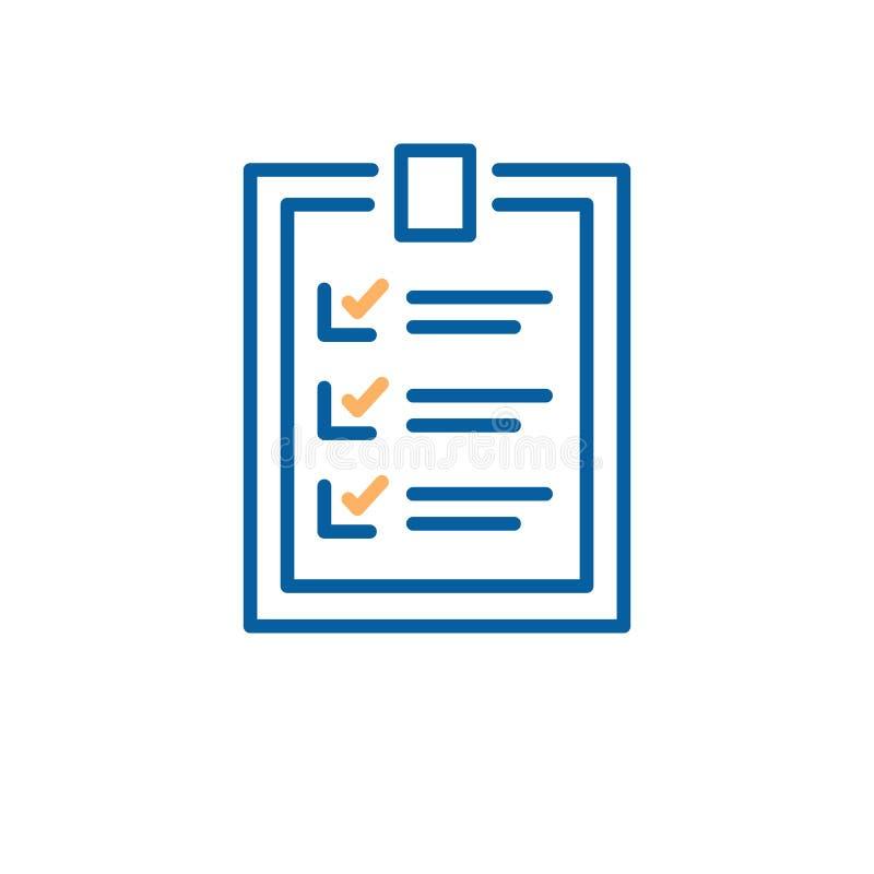 Voltooid controlelijstontwerp Vector dunne lijnillustratie voor bedrijfs, persoonlijke en onderwijs verwezenlijkte doelstellingen royalty-vrije illustratie