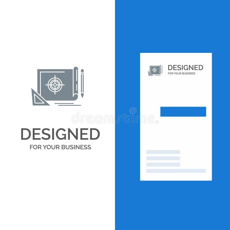 Voltooiing, Dossier, Dossierdoel, Marketing, Doel Grey Logo Design en Visitekaartjemalplaatje vector illustratie