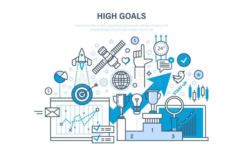 Voltooiing van hoge doelstellingen, zelf-verbetering, leiding, succes en de groei royalty-vrije illustratie