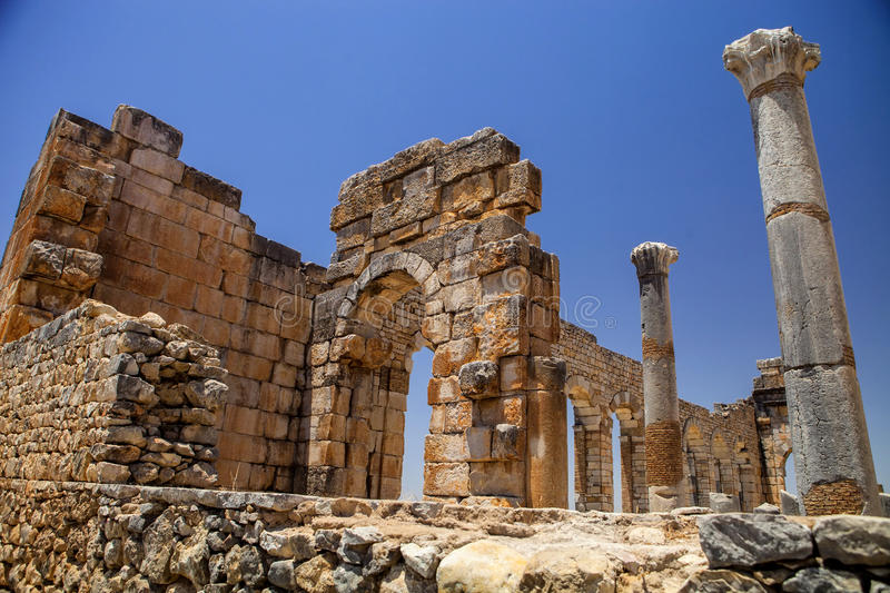 Volubilis is a Roman city in Morocco situated near Meknes royalty free stock image