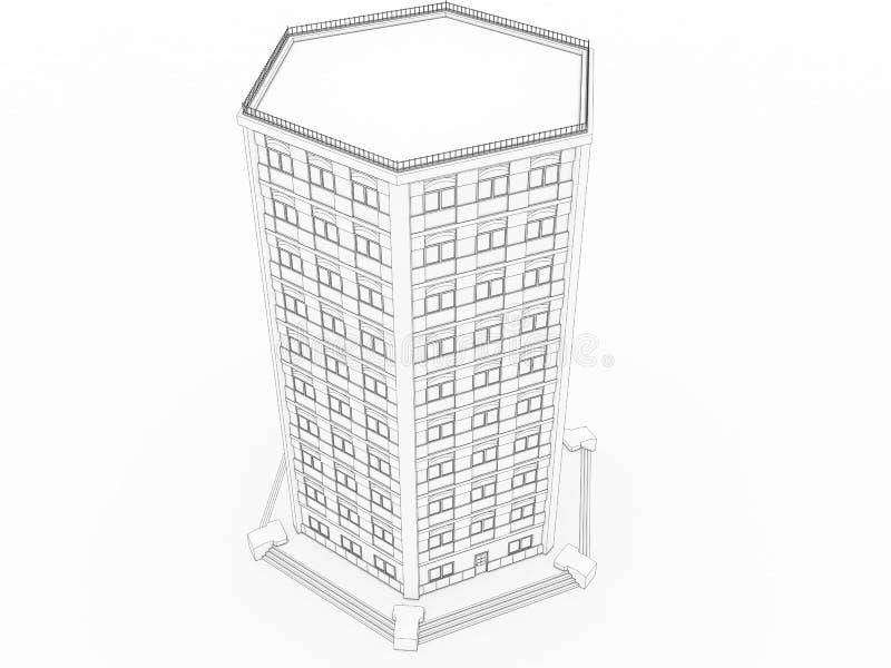 Volumétrico a construção que desenha â3 ilustração royalty free