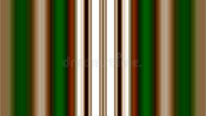 Volume bands of different colors. A wall element decorated with plaster slats of different widths and different colors. White, green, brown, red, beige, black vector illustration