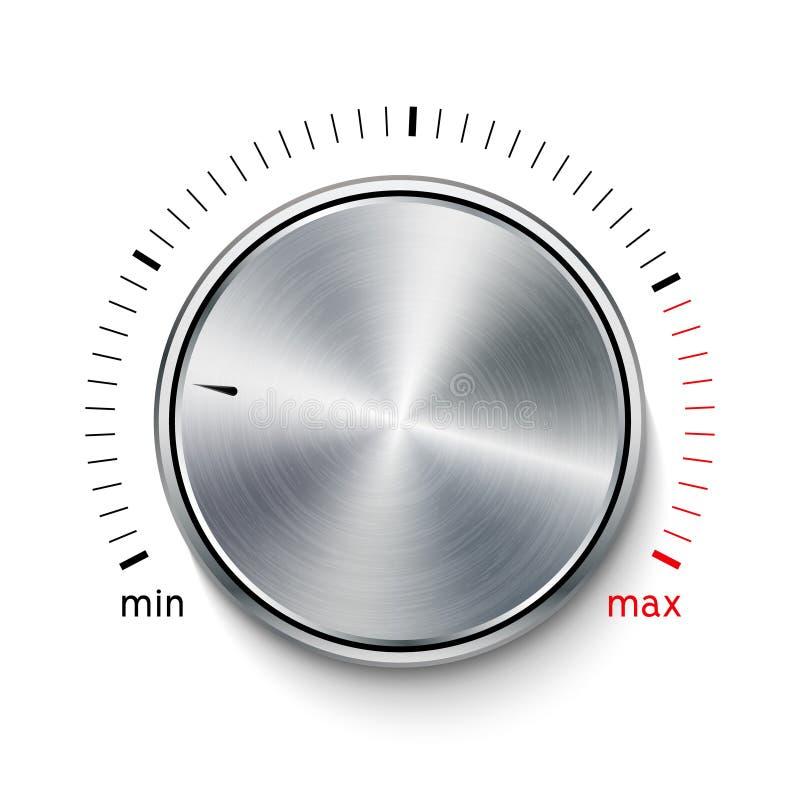 Volume button metal texture steel chrome. Music knob sound level. Sound panel tuner interface stock illustration