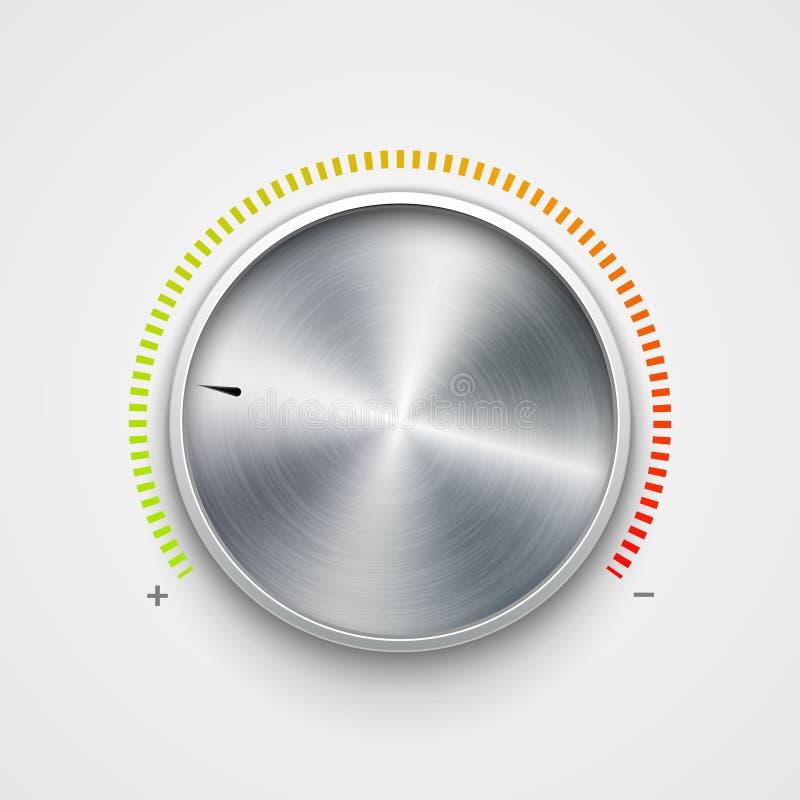 Volume button metal texture steel chrome. Music knob sound level. Sound panel tuner interface vector illustration