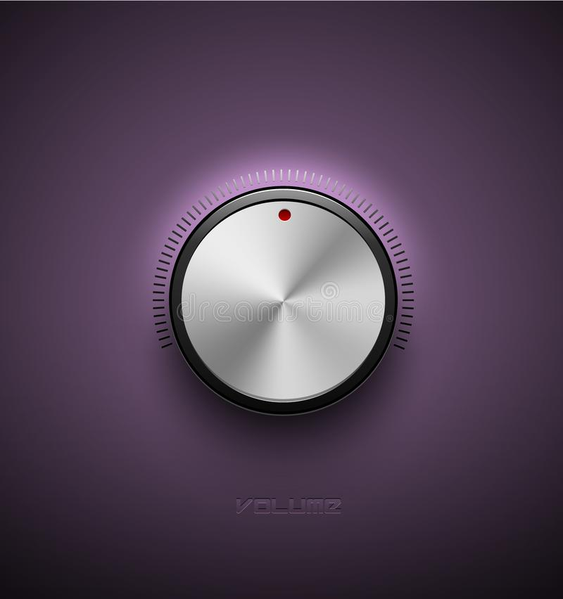 Volume button, sound control icon, music knob metal aluminum or chrome texture and scale with black ring purple plastic background stock illustration