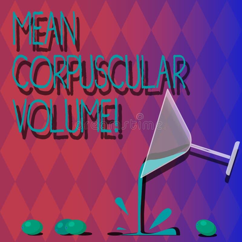 Volume corpusculaire de moyen des textes d'écriture Volume de moyenne de signification de concept d'un cocktail rouge de mesure d illustration libre de droits