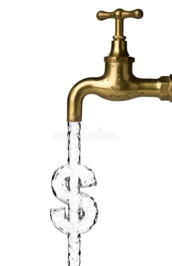 Volume de água da torneira ou do torneira de água que formam o sinal de dólar em branco - custo da água ou conceito do desperdíci imagens de stock