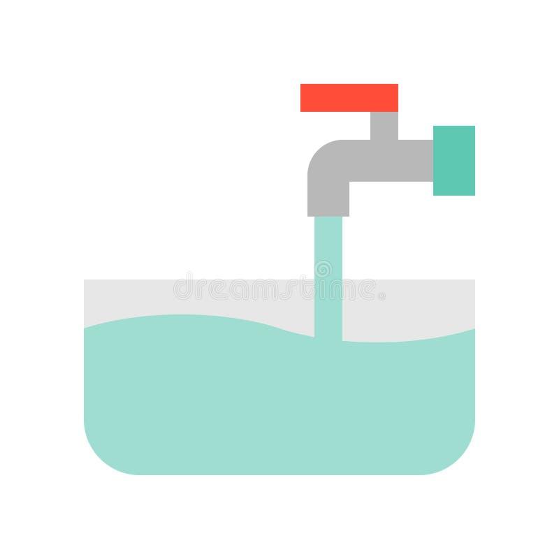 Volume de água de enchimento da aba da água aberta na bacia, na limpeza e na lavanderia ilustração do vetor