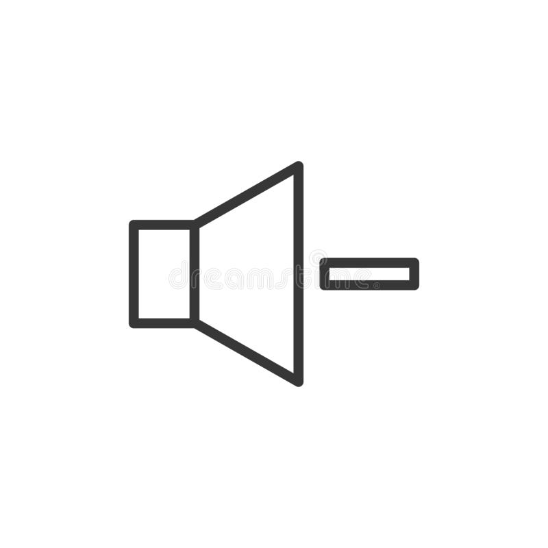Volume decrease icon. Vector thin line speaker with a minus sign royalty free illustration