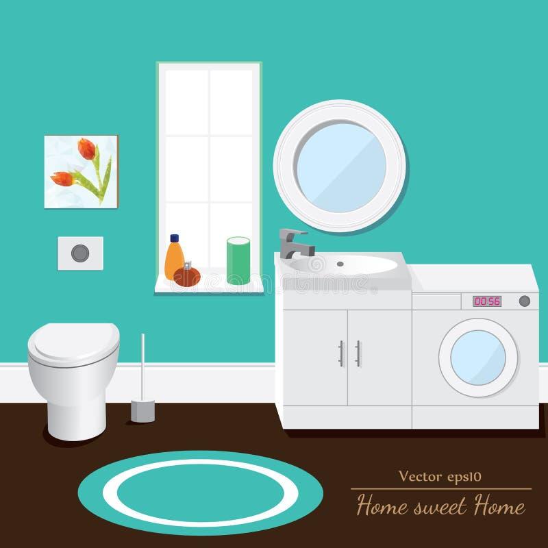 Volume dell'interno del bagno Priorità bassa per una scheda dell'invito o una congratulazione illustrazione di stock