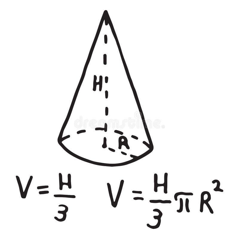 Volume disegnato a mano del cono illustrazione di stock