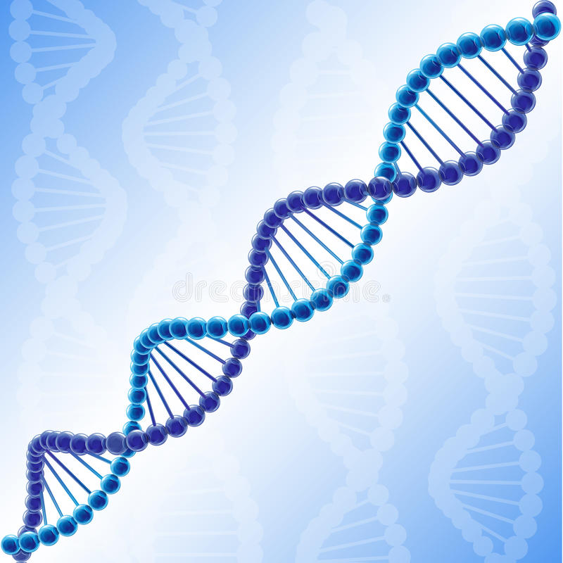 Volume DNA chain in vector clipart. Volume colored DNA. Blue coloured picture, molecule of deoxyribonucleic acid. Logotype of genetically modified organisms vector illustration