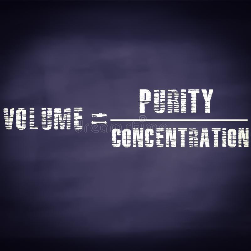 Volume equal to purity upon concentration equation displayed on chalkboard concept royalty free stock photos