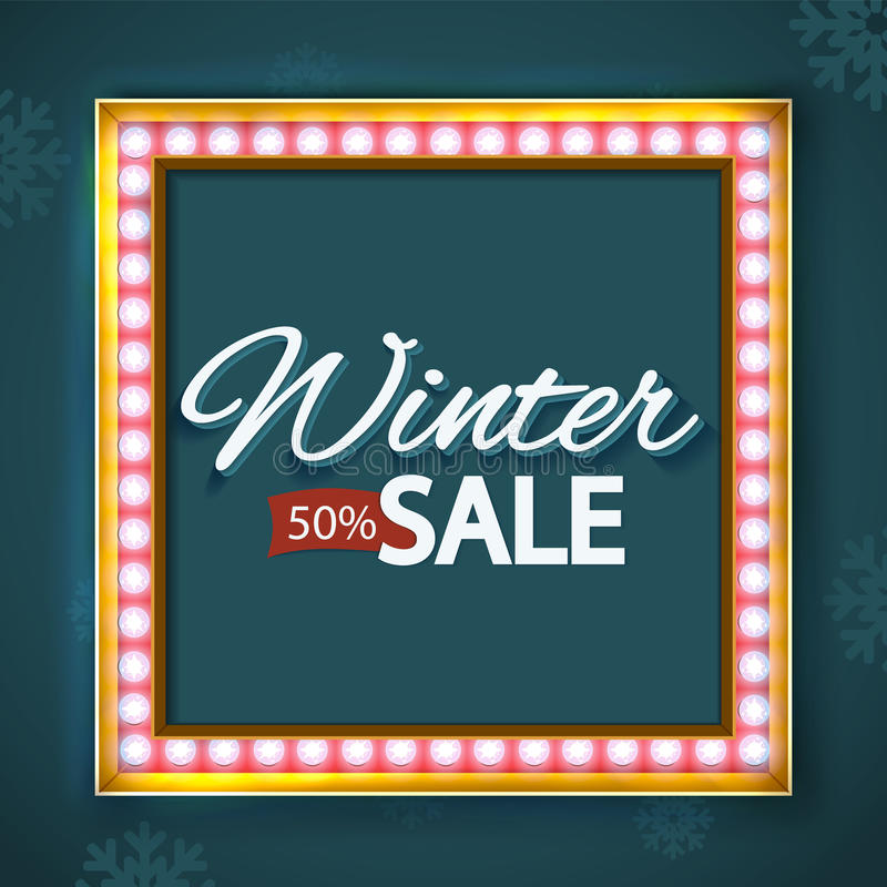 Volume frame with lights, Background on sale. Volume frame with light bulb and the word winter discounts. Background on sale, discounts, promotions in the winter royalty free illustration