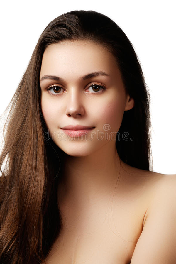 Volume Hair. Beauty Woman with Very Long Healthy and Shiny Smooth Brown Hair. Model Brunette Girl Portrait isolated on a white ba royalty free stock photography