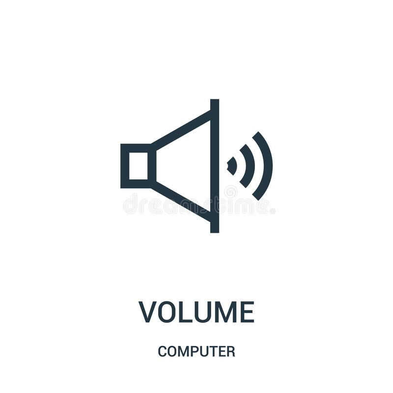volume icon vector from computer collection. Thin line volume outline icon vector illustration royalty free illustration