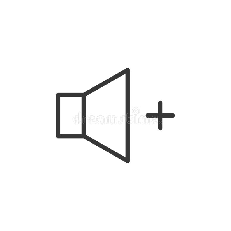 Volume increase icon. Vector thin line speaker with a plus sign for higher sound volume control royalty free illustration