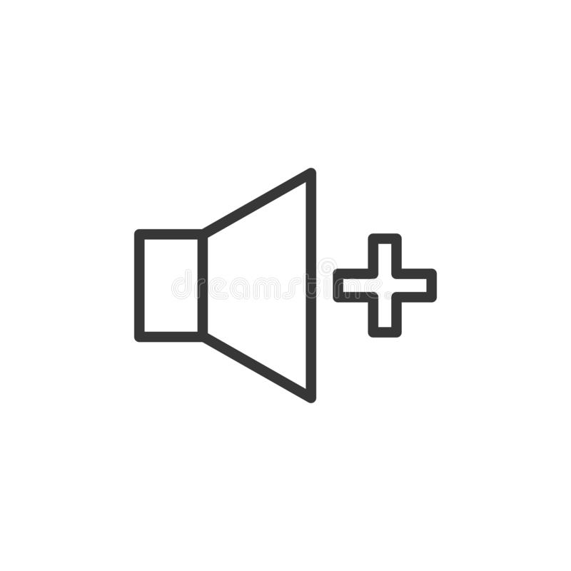 Volume increase icon. Vector thin line speaker with a plus sign for higher sound volume control stock illustration