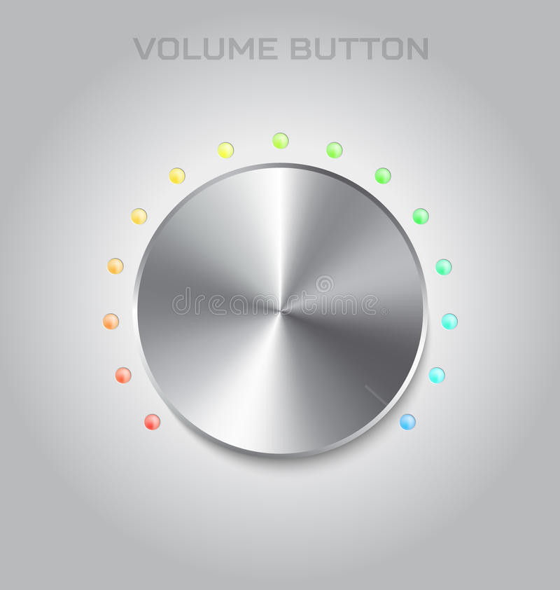 Volume settings button. Metal or steel texture. Chrome music and vector illustration