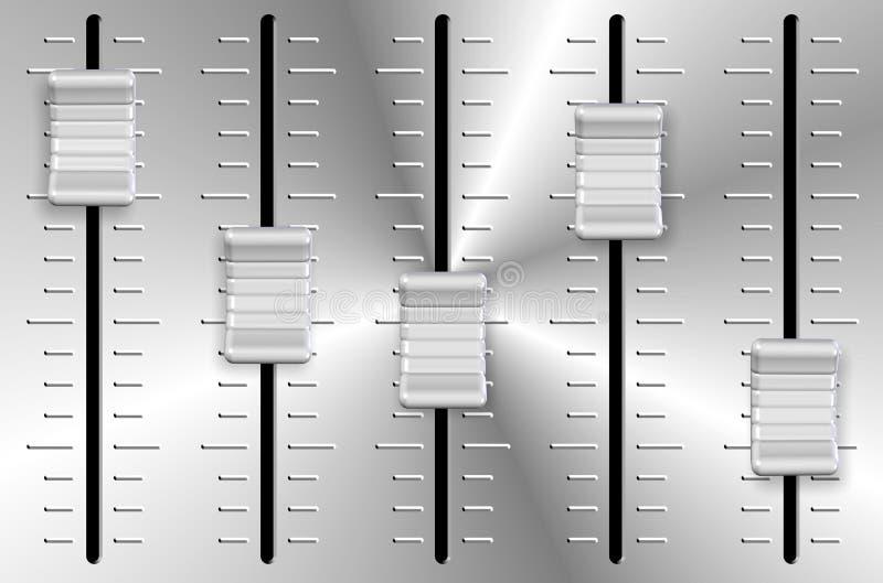 Volume slider knobs. An illustration of white and metal volume slider knobs royalty free illustration