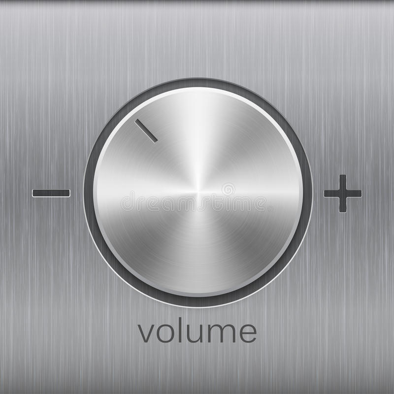 Volume sound control with metal aluminum or chrome brushed texture and level scale with plus and minus royalty free illustration