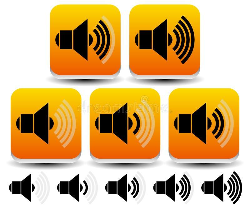 Volume / Sound Level Symbols - Icons. Eps 10 Vector Illustration of Volume / Sound Level Symbols - Icons royalty free illustration
