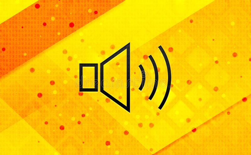Volume speaker icon abstract digital banner yellow background royalty free illustration