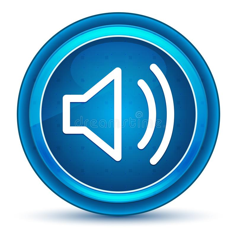 Volume speaker icon eyeball blue round button royalty free illustration