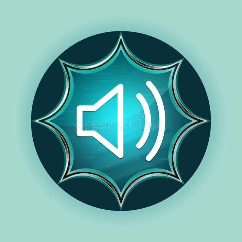 Volume speaker icon magical glassy sunburst blue button sky blue background stock illustration