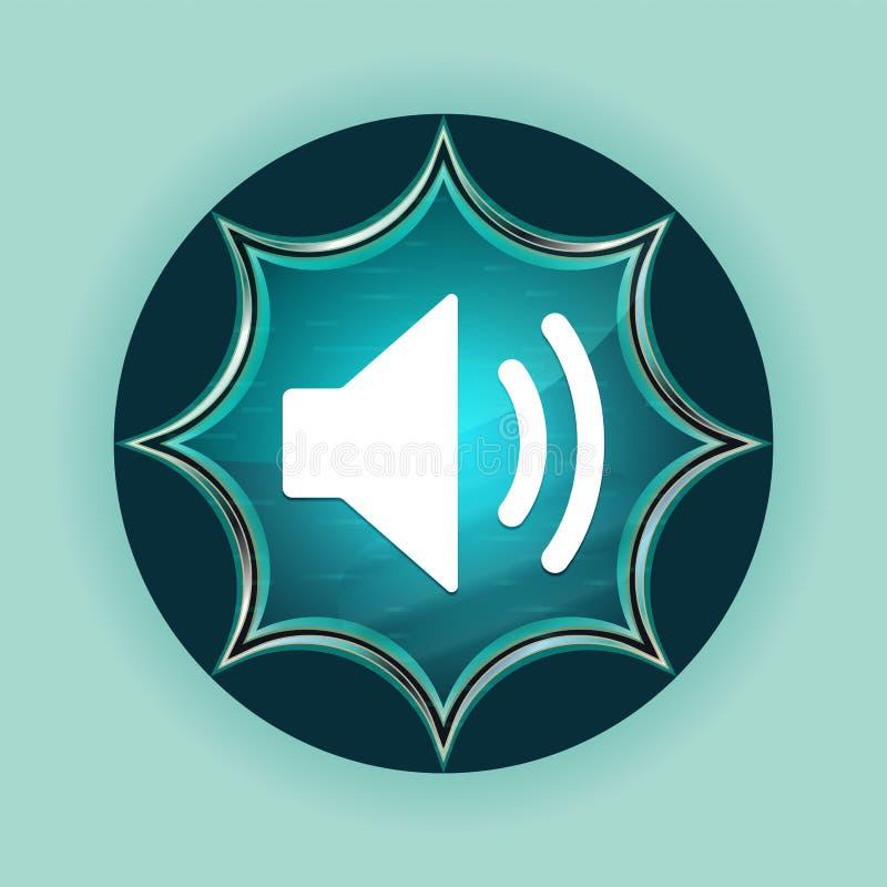 Volume speaker icon magical glassy sunburst blue button sky blue background royalty free illustration