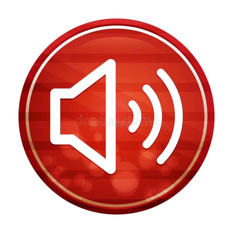 Volume speaker icon realistic diagonal motion red round button illustration vector illustration