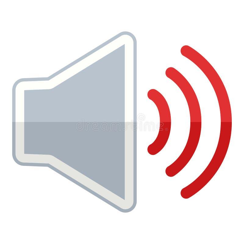 Volume sur l'icône plate de musique d'isolement sur le blanc illustration libre de droits