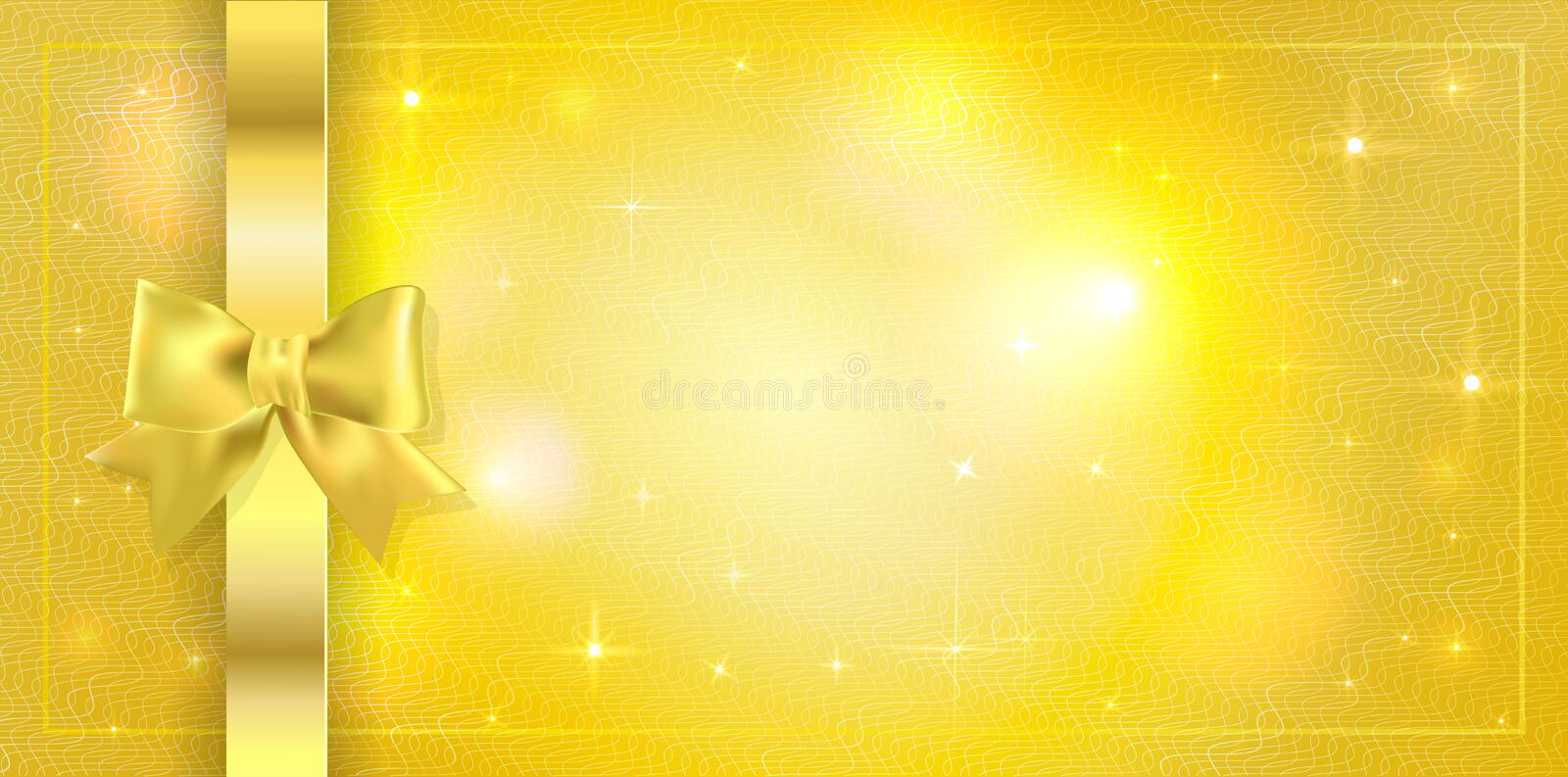 Volume template of Golden ticket, Gift Certificate, Gift Voucher. Holiday reward card design with sparkles stars on golden royalty free stock photos