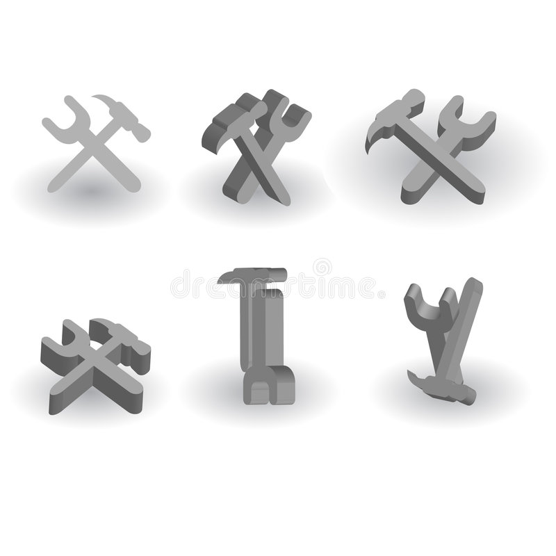 Volume Tools In Different Positions Stock Photos