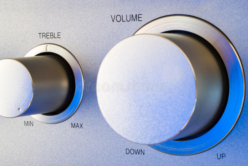 Volume and treble control knobs stock images