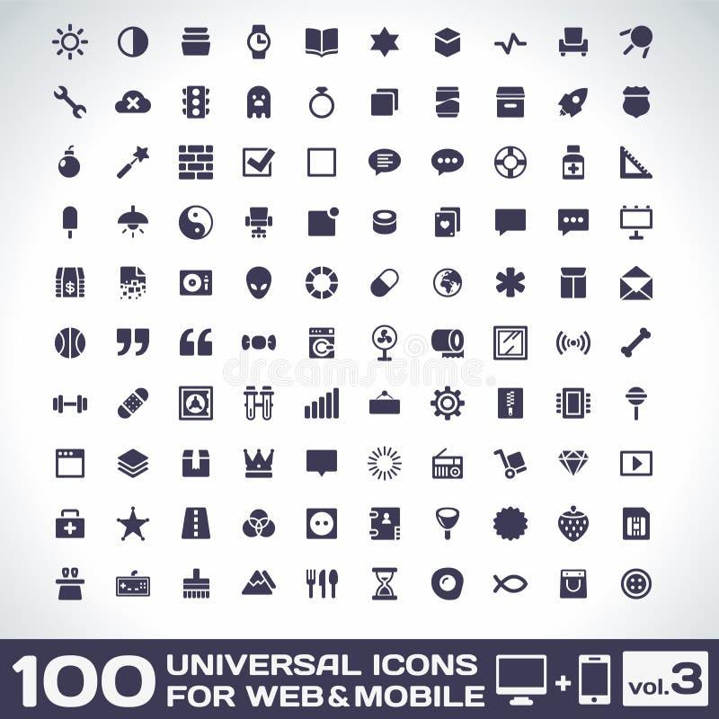 Volume universel 3 de 100 icônes illustration libre de droits