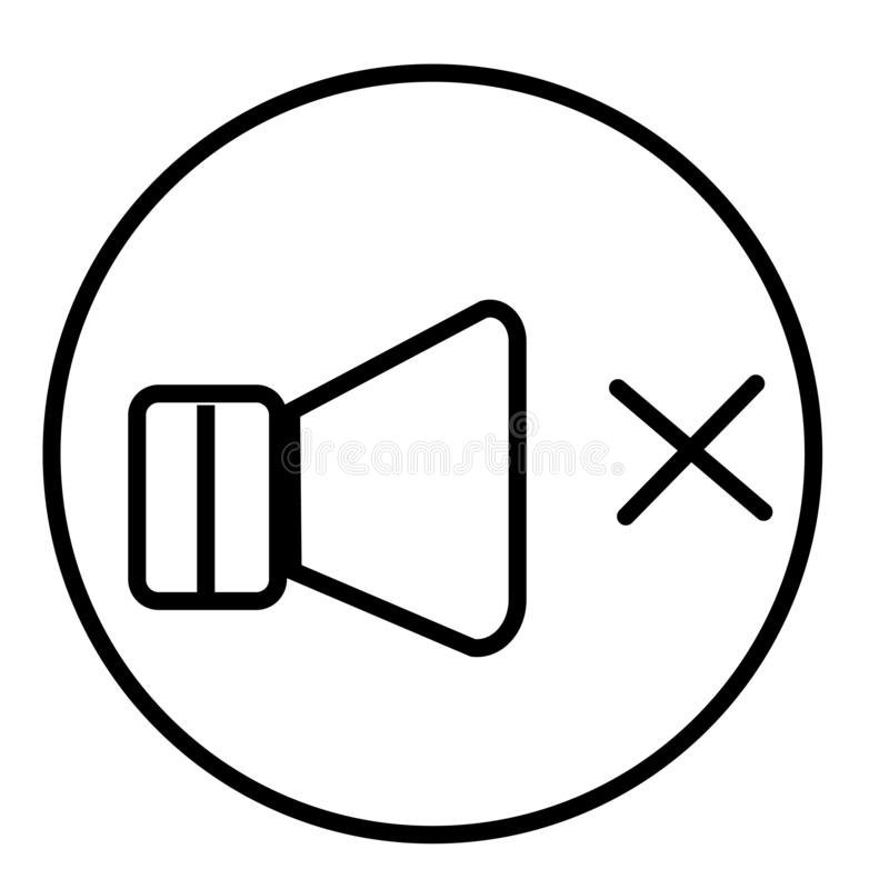 Volume van het het vectordieteken en symbool van het sprekerspictogram op witte achtergrond, Volume van het concept van het sprek royalty-vrije illustratie