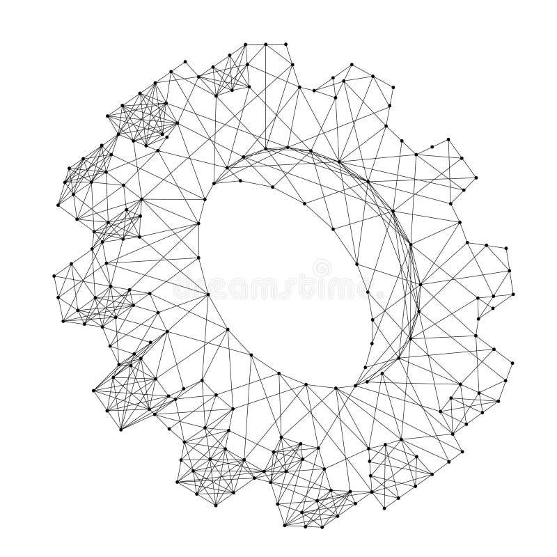Volumen 3d de la m?quina una del engranaje solo de l?neas y de puntos negros poligonales futuristas del extracto Ilustraci?n del  libre illustration