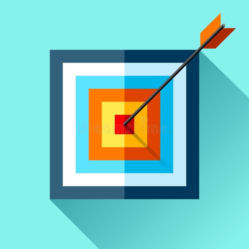 Volumen squre Zielikone in der flachen Art auf Farbhintergrund Pfeil im Mittelziel Vektorgestaltungselement für Sie Geschäft proj vektor abbildung