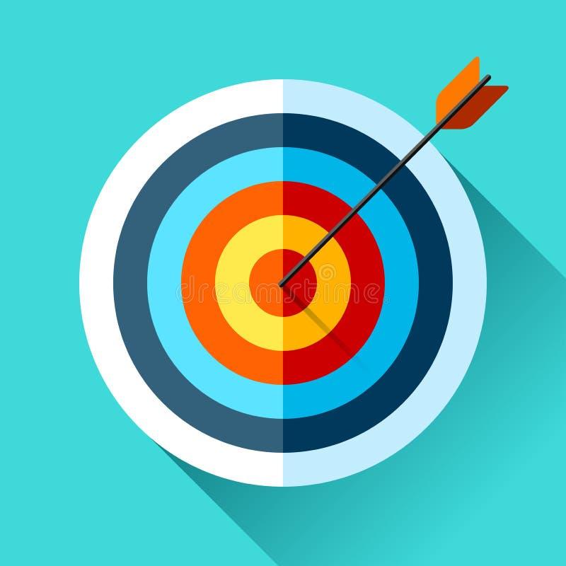 Volumen-Zielikone in der flachen Art auf Farbhintergrund Pfeil im Mittelziel Vektorgestaltungselement für Sie Geschäftsprojekte lizenzfreie abbildung