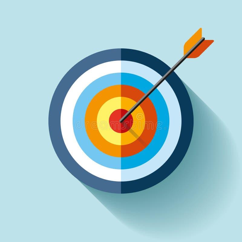 Volumen-Zielikone in der flachen Art auf Farbhintergrund Pfeil im Mittelziel Vektorgestaltungselement für Sie Geschäftsprojekte stock abbildung