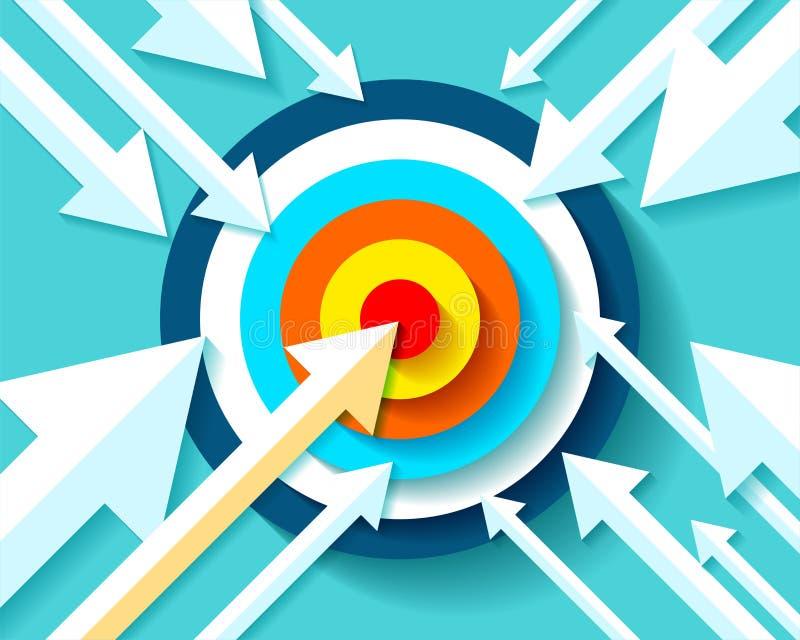 Volumen-Zielikone in der flachen Art auf Farbhintergrund Pfeile fliegen zum Mittelziel Vektorgestaltungselement für Sie Geschäfts lizenzfreie abbildung