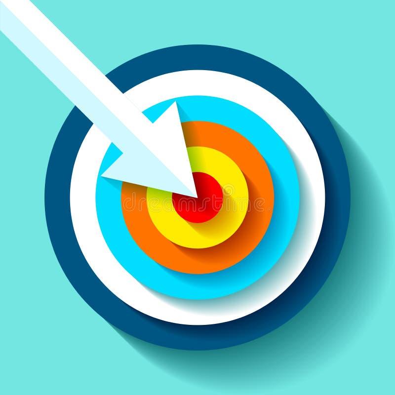 Volumen-Zielikone in der flachen Art auf Farbhintergrund Weißer Pfeil im Mittelziel Vektorgestaltungselement für Sie Geschäft pro lizenzfreie abbildung