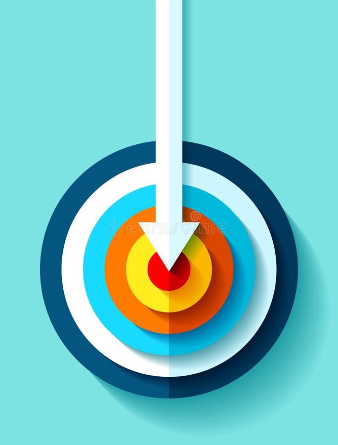 Volumen-Zielikone in der flachen Art auf Farbhintergrund Weißer Pfeil im Mittelziel Vektorgestaltungselement für Sie Geschäft pro stock abbildung
