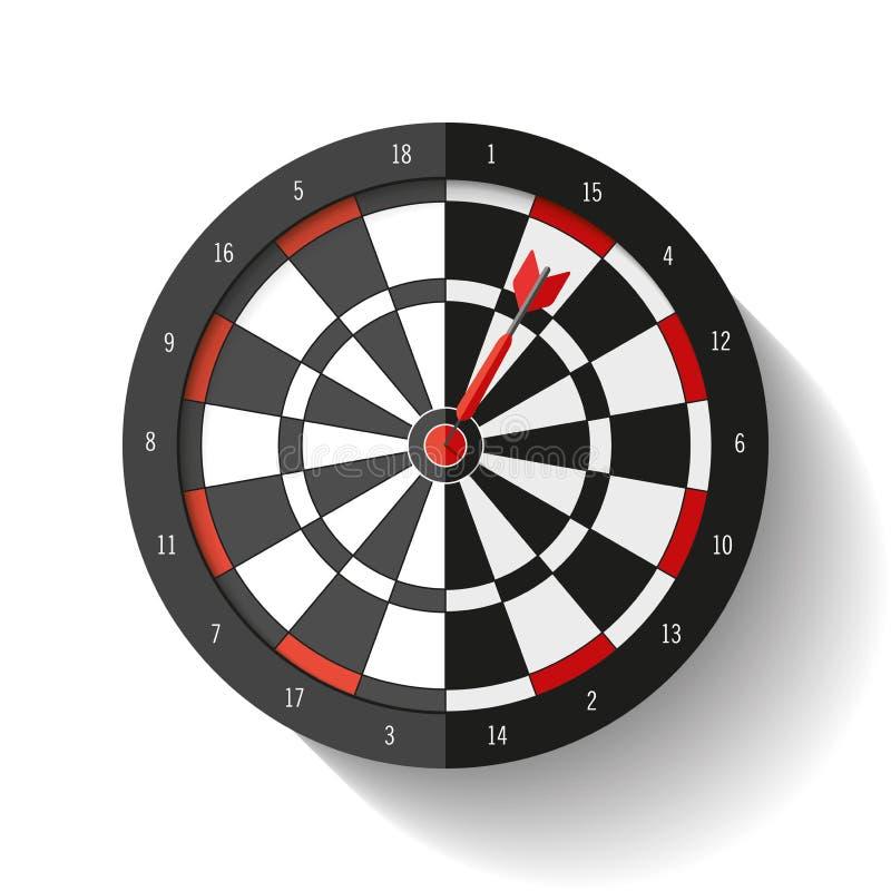 Volumen-Zielikone in der flachen Art auf weißem Hintergrund Schießt Spiel Pfeil im Mittelziel Vektorgestaltungselement für Sie Ge lizenzfreie abbildung