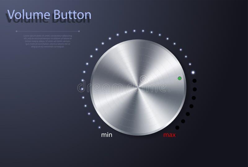 Volumenknopf Realistischer Metallkreisknopf Vektorabbildung für Ihr design stock abbildung