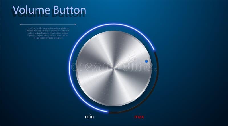 Volumenknopf Realistischer Metallkreisknopf Vektorabbildung für Ihr design lizenzfreie abbildung