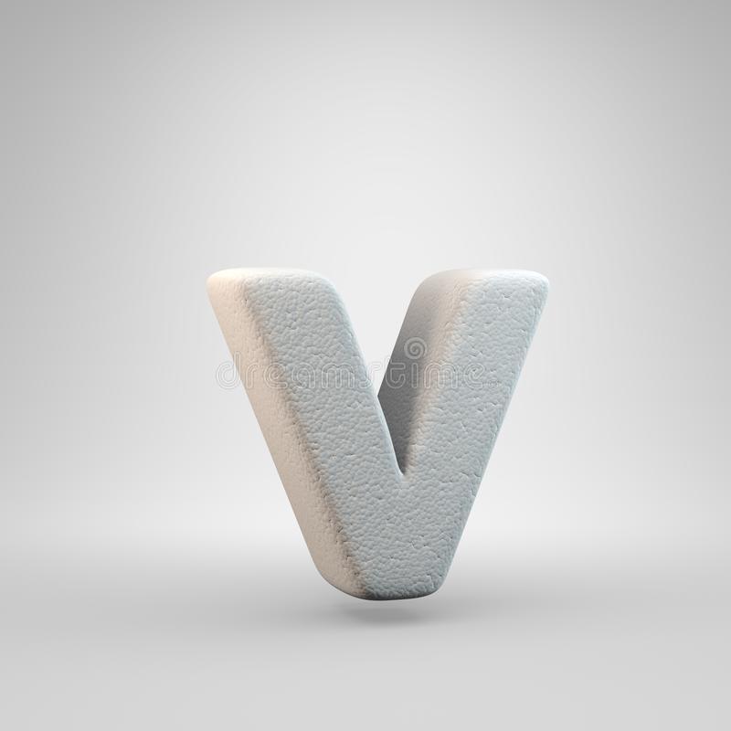Volumetric construction foam lowercase letter V isolated on white background stock illustration