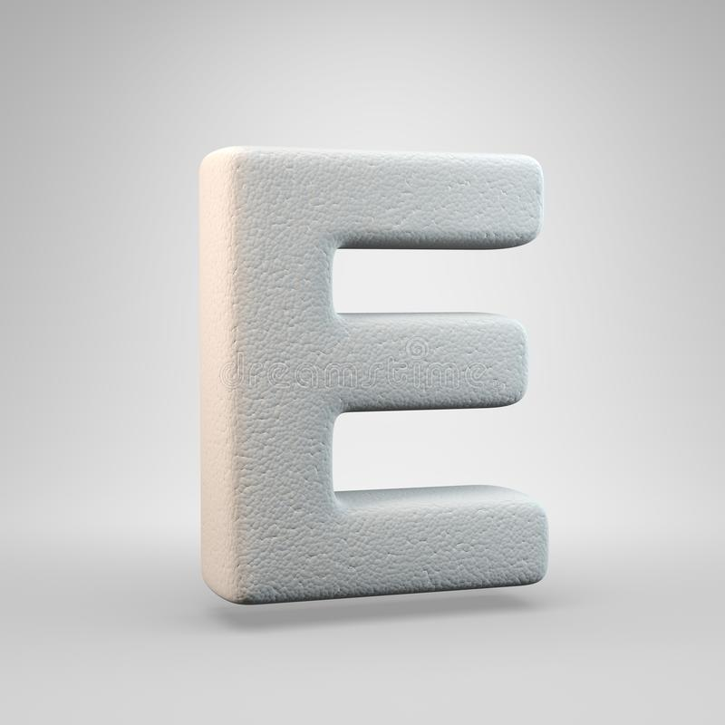 Volumetric construction foam uppercase letter E isolated on white background. 3D rendered alphabet. Modern font for banner, poster, cover, logo design template royalty free illustration