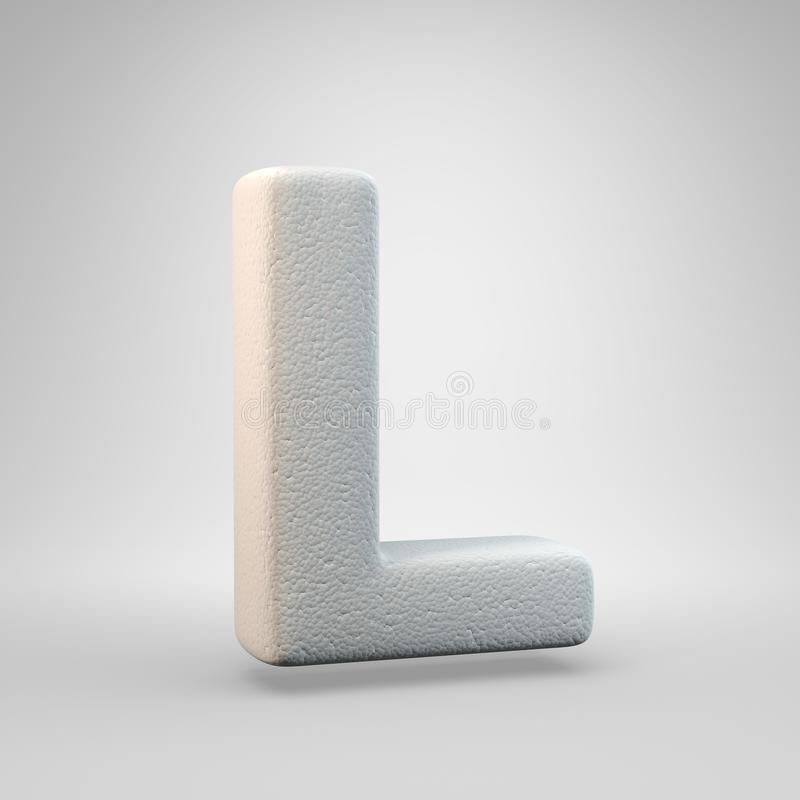 Volumetric construction foam uppercase letter L isolated on white background. 3D rendered alphabet. Modern font for banner, poster, cover, logo design template royalty free illustration